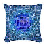 Optical Illusion Sphere - Blue Woven Throw Pillow
