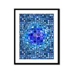 Optical Illusion Sphere - Blue Framed Panel Print