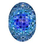 Optical Illusion Sphere - Blue Ornament (Oval)