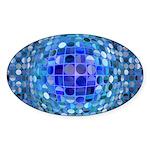 Optical Illusion Sphere - Blu Sticker (Oval 50 pk)