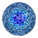 Optical Illusion Sphere - Blue Round Car Magnet