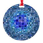 Optical Illusion Sphere - Blue Round Ornament