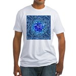 Optical Illusion Sphere - Blue Fitted T-Shirt