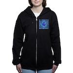 Optical Illusion Sphere - Blue Women's Zip Hoodie