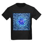 Optical Illusion Sphere - Blue Kids Dark T-Shirt