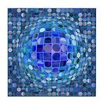 Optical Illusion Sphere - Blue Tile Coaster
