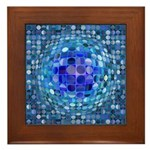 Optical Illusion Sphere - Blue Framed Tile