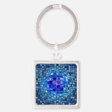 Optical Illusion Sphere - Blue Square Keychain