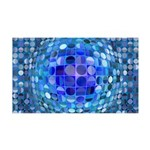 Optical Illusion Sphere - Blue 35x21 Wall Decal