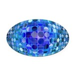 Optical Illusion Sphere - Blue Oval Car Magnet