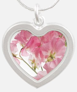 sweet pea Silver Heart Necklace