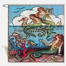 Vintage Mermaids Seashorse Fish Shower Curtain