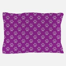 Puppy paw prints on purple background Pillow Case