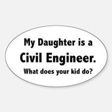 Civil Engineer Daughter Oval Decal