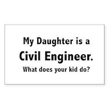 Civil Engineer Daughter Rectangle Decal