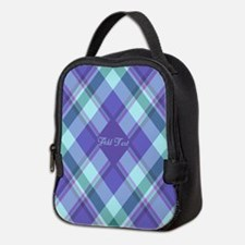 Spring Lilac Plaid Neoprene Lunch Bag