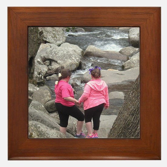my girls on the Rocks Framed Tile
