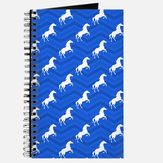 Cobalt Blue, White Horse, Equestrian, Chevron Pat