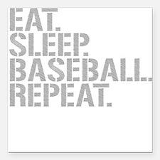 "Eat Sleep Baseball Repeat Square Car Magnet 3"" x 3"