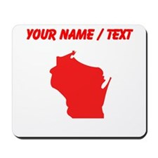 Custom Red Wisconsin Silhouette Mousepad