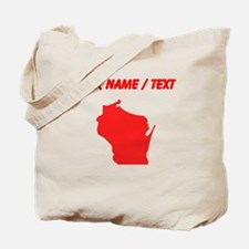 Custom Red Wisconsin Silhouette Tote Bag