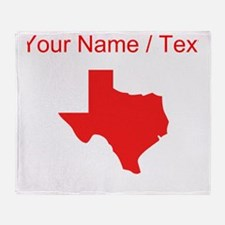 Custom Red Texas Silhouette Throw Blanket