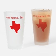 Custom Red Texas Silhouette Drinking Glass