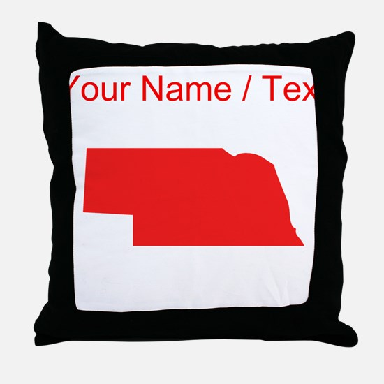 Custom Red Nebraska Silhouette Throw Pillow