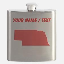 Custom Red Nebraska Silhouette Flask