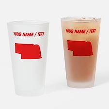 Custom Red Nebraska Silhouette Drinking Glass