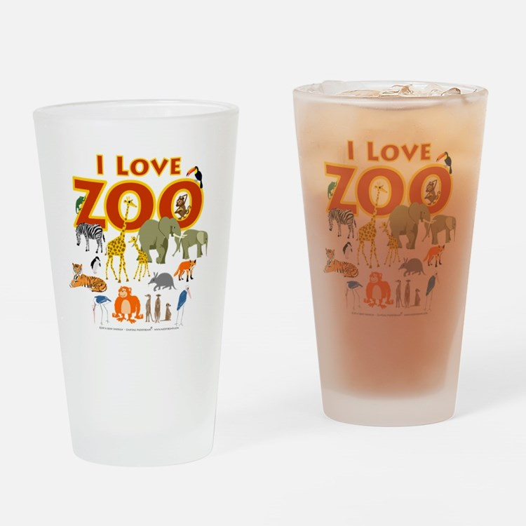 I Love Zoo Drinking Glass