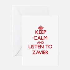 Keep Calm and Listen to Zavier Greeting Cards