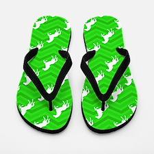 Neon Green Horse Flip Flops