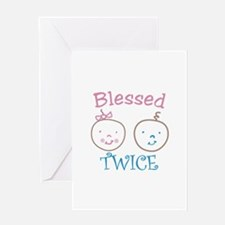 Blessed TWICE Greeting Cards