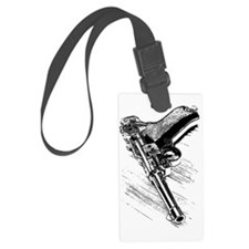 A pistol on the wooden table Luggage Tag
