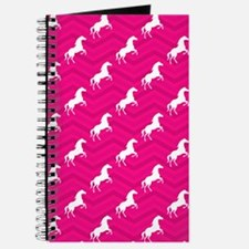 Hot Pink, White Horse, Equestrian, Chevron Journal