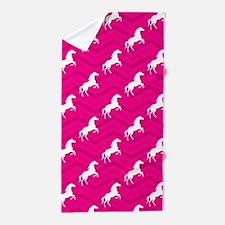 Hot Pink, White Horse, Equestrian, Chevron Beach T