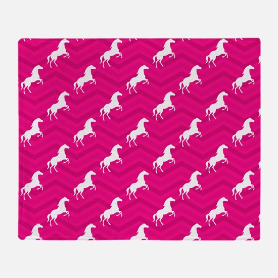 Hot Pink, White Horse, Equestrian, Chevron Throw B
