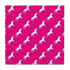 Hot Pink, White Horse, Equestrian, Chevron Tile Co