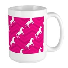 Hot Pink, White Horse, Equestrian, Chevron Mugs
