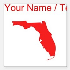 "Custom Red Florida Silhouette Square Car Magnet 3"""