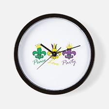 Peace Love Party Wall Clock