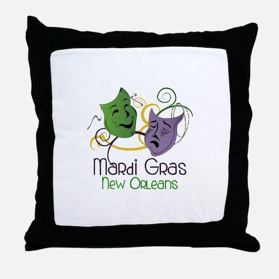 Mardi Gras New Orleans Throw Pillow