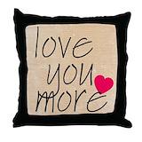 Love you more pillows Throw Pillows