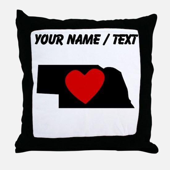 Custom Nebraska Heart Throw Pillow