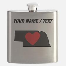 Custom Nebraska Heart Flask