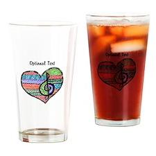 Customizable Music Heart Treble Cle Drinking Glass