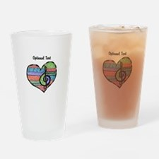 Customizable Music Heart Treble Cle Drinking Glass