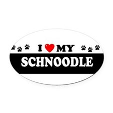 Cute Schnoodle Oval Car Magnet
