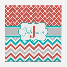 Coral Teal Chevron Quatrefoil Personalized Tile Co